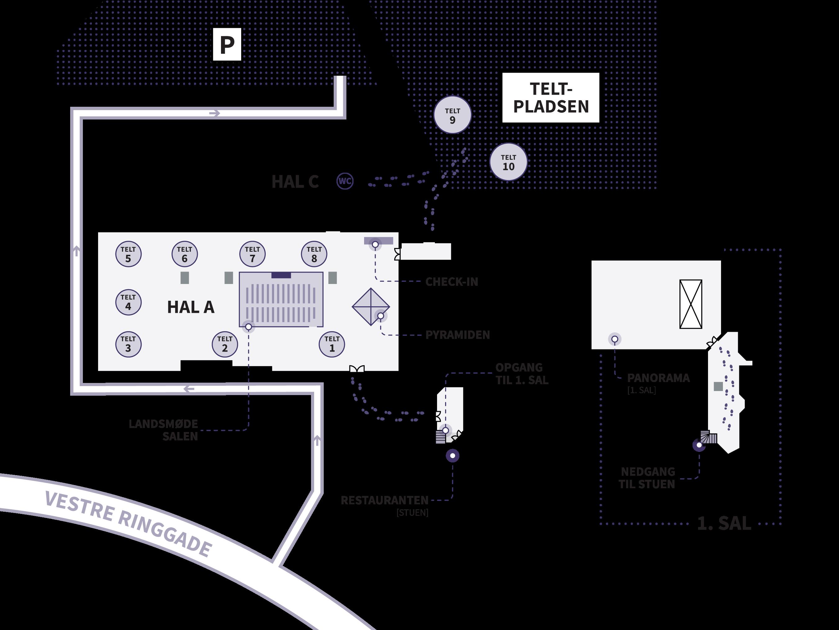 Kort over Landsmøde området i MESSE C
